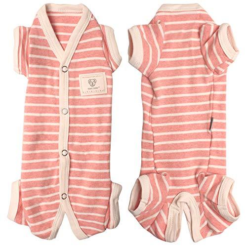 TONY HOBY Female Pet Dog Pajamas Stripes 4 Legged Dog pjs Jumpsuit Soft Cotton Dog Clothes (XL, Pink+White-Girls)