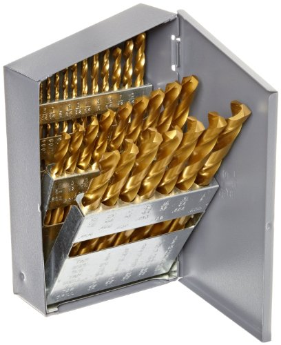 Chicago Latrobe 69870 2550 Series Cobalt Steel Jobber Length Drill Bit Set With Metal Case, TiN Coated, 135 Degree Split Point, Inch, 29-piece, 1/16' - 1/2' in 1/64' increments