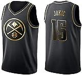 MMW NBA Camiseta de Baloncesto para Hombre - Denver Nuggets 15# Nikola Jokic. Bordado Swingman Transpirable y Resistente al Desgaste Camiseta para Fan,Golden Edition,S