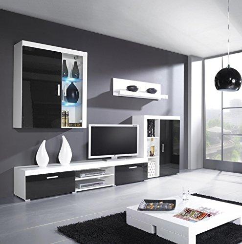 Furniture24 Wohnwand Samba mit LED Beleuchtung Wohnzimmer Möbel (Weiß/Schwarz Hochglanz)