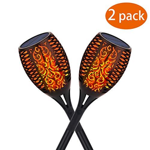 Kinglead Solarleuchte Garten Fackel Flammenlicht Flammen IP65 Gartenleuchten Solar LED Fackel Licht Auto EIN/Aus USB Wiederaufladbar