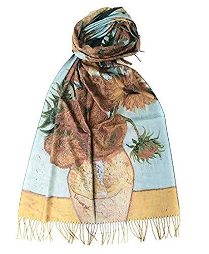Goods4good Bufanda/pañuelo/Fular elegante para mujer, de viscosa para otoño/invierno,con tacto suave y dibujo de las pinturas de Van Gogh, Klimt, Picasso. (Amarillo)