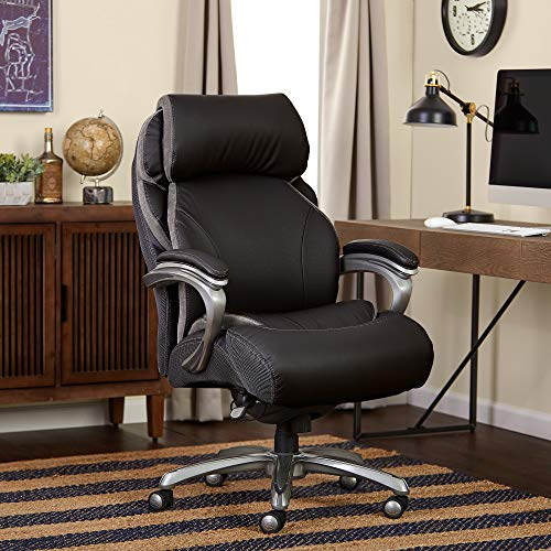 Serta Big and Tall Smart Layers Tranquility Executive Office Chair with AIR Technology, Black