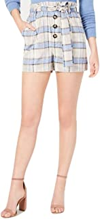 J.O.A. Plaid Paper Bag Shorts, Sky Plaid, XS