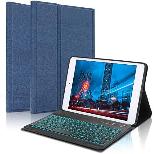 iPad Mini Keyboard Case for iPad Mini 5 / Mini 4 / Mini 3 / Mini 2 / Mini 1, Detachable Bluetooth Wireless, 7 Colors Backlit, Smart Folio Leather Cover Bag (B: Blue with Backlit)
