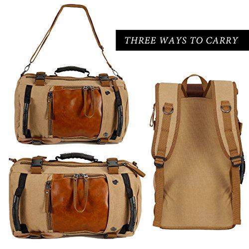 ibagbar Canvas Backpack Travel Bag Hiking Bag Camping Bag Rucksack Khaki Large