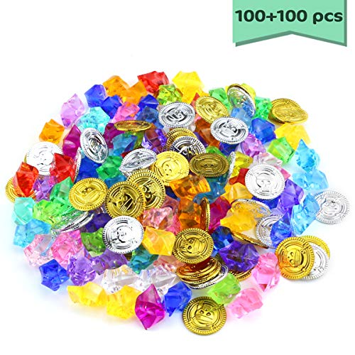 Neworkg 200 Pcs Pirate Toys Gold Coins and Pirate Gems Jewelery Playset, Treasure for Activity Game and Pirate Party Favor Decorations