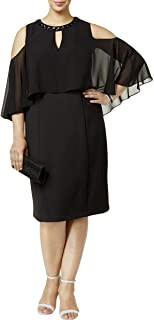 SLNY Womens Plus Embellished Popover Scuba Dress