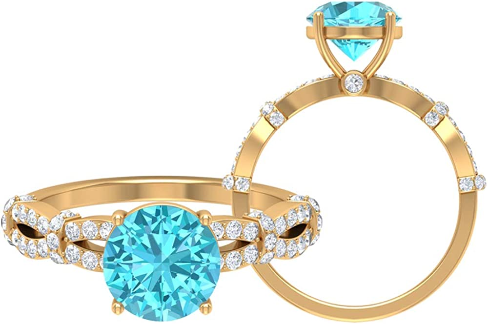 2.61 CT Swiss Blue Topaz Engagement Go Colorado Max 81% OFF Springs Mall Ring Diamond HI-SI