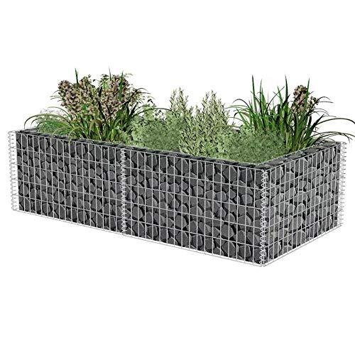 Gabionen Hochbeet, Pflanzstein Steinkorb aus Verzinkter Stahl Pflanzkübel für Terrasse Garten Balkon, 180 × 90 × 50 cm