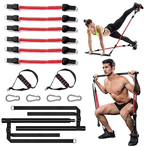 Papepipo Professionelles Pilates Bar Kit - Abnehmbar Yoga Übungsstab mit Widerstandsbändern, Ganzkörper-Krafttrainer