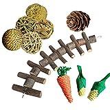 10 Stück Hamster-Kauspielzeuge aus Naturholz, Kauspielzeug für kleine Tiere wie Hamster,...