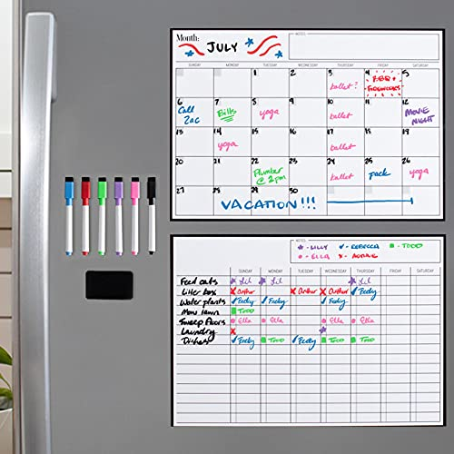 """Magnetic Dry Erase Chore Chart and Calendar Bundle for Fridge: 2 Boards Included - 17x12"""" - 6 Fine Tip Markers and Large Eraser with Magnets, Refrigerator White Board Wall Chores Chart for Kids"""