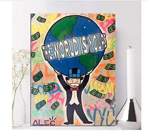yiyishop Cuadros De Pared Alec Monopoly Lienzo Póster Graffiti Decoración del Hogar Mundo Tu Pintura Dinero Impreso Pintura Sin Marco Póster 40X60Cm