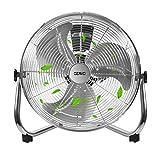 OZAVO Ventilador de Suelo 50CM, Power Fan, Metálico Máquina de Viento Ventilador Sobremesa, Circulador de Aire, 3 Niveles de Potencia, 80W, Inclinación de 100 Grados, 16 Pulgada