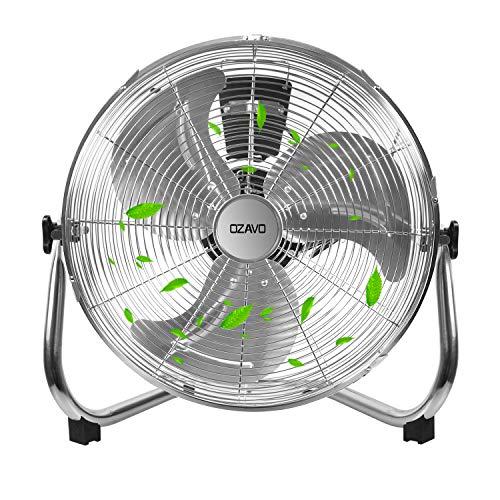 OZAVO Standventilator, Metall Windmaschine mit 3 Laufgeschwindigkeiten, Power Bodenventilator, Tischventilator 39cm/ 50 cm, Luftkühler, verstellbare Neigungswinkel, 80W (⌀50CM)