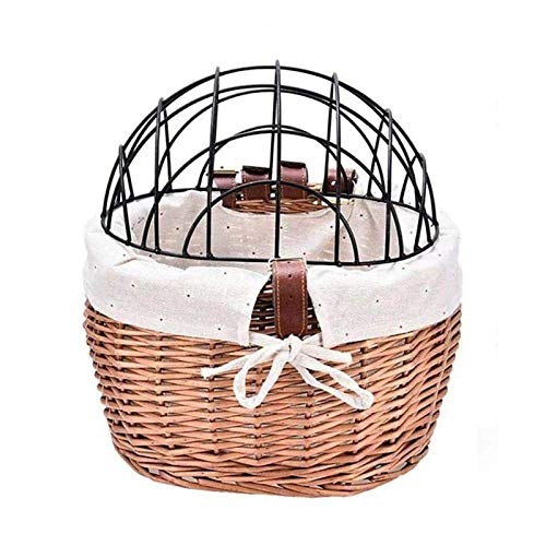SXFYHXY Bike Basket Wicker for Cats, Small Pet Cat Dog Carrier Bicycle Handlebar Basket with Cover, Multifunction Detachable Cycling Front Storage Basket Shopping Bag