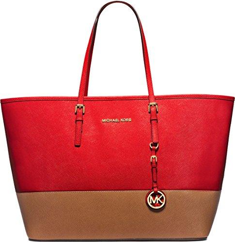 MICHAEL Michael Kors Jet Set Travel Medium Color-Block Leather Tote, Mandarin/Luggage, Medium