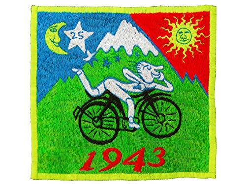 ImZauberwald original LSD Bicycle Day T-Shirt (UV Schwarzlicht aktiv - Rückseite mit Blume des Lebens) Psychedelic Goa Trance Shirt mit handgeführter Stickerei Albert Hofmann Tshirt