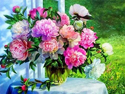 LSDEERE DIY Malen Nach Zahlen Fensterbrett Blume Vase Stillleben Malen Nach Zahlen Für Erwachsene Anfänger Kreatives Gemälde Auf Leinwand 40X 50 cm