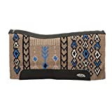 Synergy Contoured Barrel Performance Saddle Pad, Spearhead - Taupe/Dazzling Blue