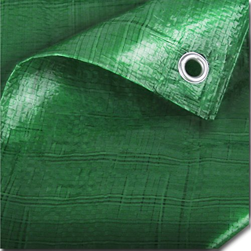 The Chemical Hut Strong Green Waterproof Tarpaulin Ground Sheet Covers For Camping Fishing Gardening Pets 3.5m x 4.5m, 12ft x 15ft Comes With TCH Pen