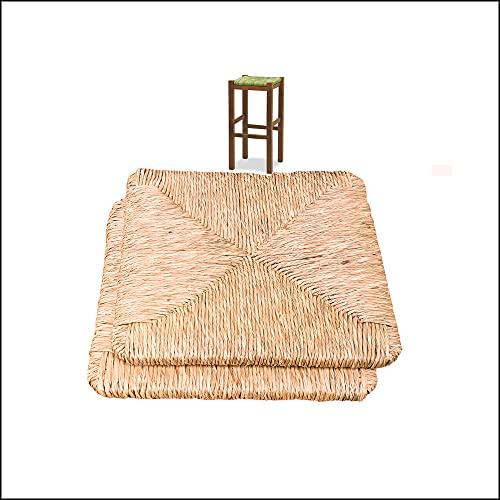 Seduta di Ricambio Impagliata per SGABELLO, Fondo di Ricambio Robusto, FACILCASA   Vera Paglia di Riso a mano   Sostituzione Facile, con Esclusivo Manuale Istruzioni (cm. 33 x 33 x h3) Nr. 2 art. 08
