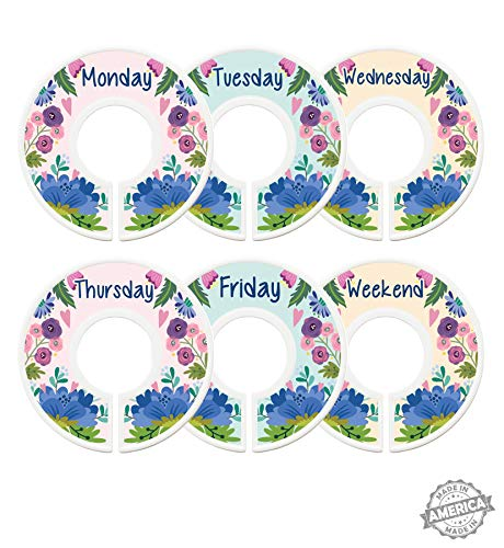 Modish Labels Daily Clothes Organizers, Days of Week Closet Dividers, Closet Organizers, School Supplies, Work Week Clothes Organizer, Girl, Flowers, Floral Decor, Boho, Nordic (Days)
