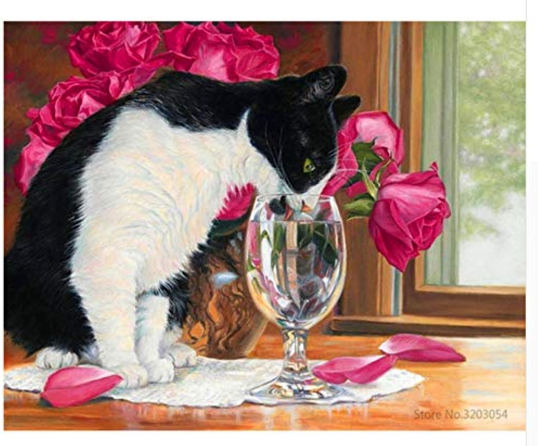 Agolong DIY Malen nach Zahlen Bunte Katze Acryl Malerei Moderne Bild Home Decor für Wohnzimmer Mit Rahmen 40x50cm B07LBSY768 | Wirtschaft