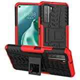 Yiakeng Huawei P40 Lite 5G Coque, antichoc en silicone de protection avec béquille pour Huawei P40 Lite 5G (Rouge)