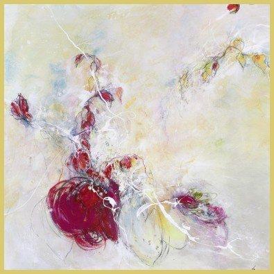 Art-Galerie Bild mit Rahmen Rose Lamparter - Sommerwind - Digitaldruck - Aluminium Gold glänzend, 30 x 30cm - Premiumqualität - Blumen - Made IN Germany SHOPde