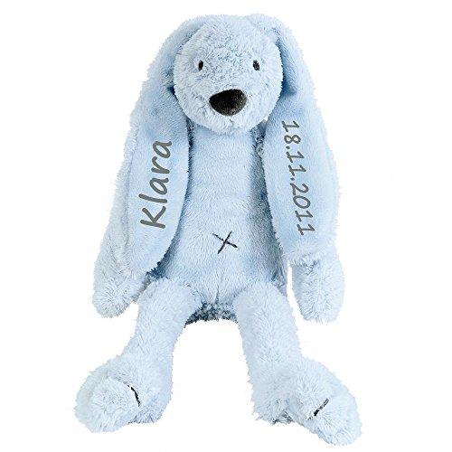 Elefantasie Stofftier Hase mit Namen und Geburtsdatum personalisiert Geschenk 30cm hellblau