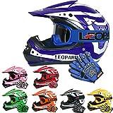 Leopard LEO-X17 Casco de Motocross para Niños Azul XL (55cm) y Guantes y XL(8cm) Gafas ECE Homologado