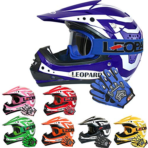 Leopard LEO-X17 Kinder Motocross MX Helm { Motorradhelm + Handschuhe + Brille} Blau M (51-52cm) ECE Genehmigt Crosshelm Kinderquad Off Road Enduro Sport