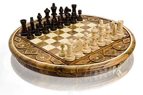 Hermoso ajedrez de madera RUBY decorativo, esculpido y hecho a mano por Master Of Chess