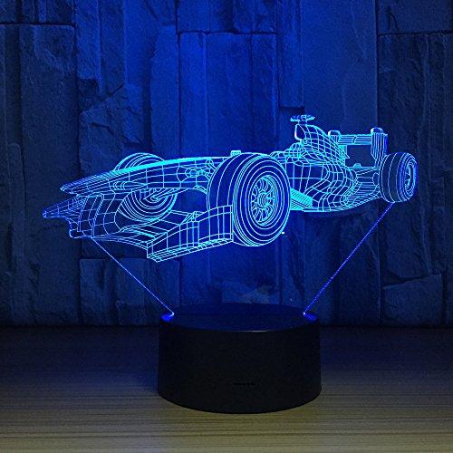 3D LED illusion lamp racewagen, sfeerlamp 7 kleuren wisselende kleuren met afstandsbediening en USB-oplaadkabel hoofddecoratielicht