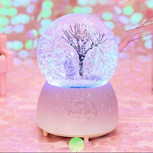 WZYJ Crystal Ball Music Box, Automatische Schneeflocke Musik Laterne Spieluhr Holzsockel Festival Kinder Paar Geburtstags-Geschenk,H