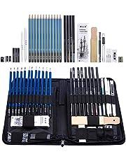 H&B Lápices de bocetos de Set Kit de dibujo de artistas en caja de cremallera con boceto, todos los accesorios diversos y de arte para su pintura (40 Pieza Profesional Pack).