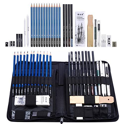 Sketch Set di matite per artisti Kit da disegno in caso di cerniera con pad da disegno, tutti i materiali vari e materiali d'arte per la tua pittura (40 Pezzi)