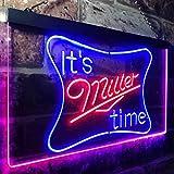 zusme It's Miller Time Beer Bar Novelty LED Neon Sign Blue + Red W16 x H12