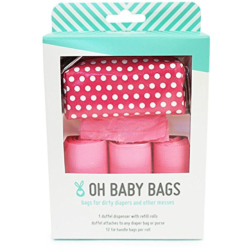 Oh Baby Bags - Diaper Bag Clip-On Dispenser Gift Box with Scented Disposable Bags for Dirty Diapers, Pink Dot Duffle plus 48 Pink Citrus Scented Bags