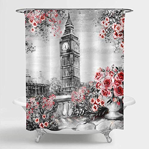 DINGQING Watercolor Rose Flowers and British Big Ben Art Shower Curtain with Hooks Waterproof Private Shower Curtain Coated Polyester Fabric Bathroom Shower Curtain 72x72 inches with Hooks