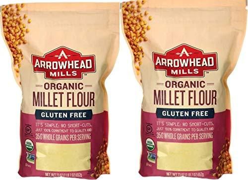 Arrowhead Mills Organic Millet Flour | Gluten Free Whole Grain Flour | 23 Ounce Resealable Pouch | Pack of 2