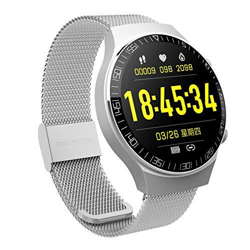 H HILABEE 1.28 'Rastreador de Ejercicios Ritmo Cardíaco Reloj Inteligente Bluetooth Pantalla Táctil Recordatorio de Mensajes Podómetro Impermeable Monitor de Su - de Acero de Plata