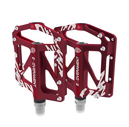 BMX Fahrrad Pedale Flat MTB, ultraleicht und rutschfest Aluminium - Mountainbike, Rennrad und Faltrad - Extra Tool für Pedale - Fahrradpedale zertifiziert, rot
