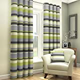 Tony's Textiles Green Grey Cream Striped Ring Top Fully Lined Pair of Eyelet Curtains (90' Wide x 54' Drop)