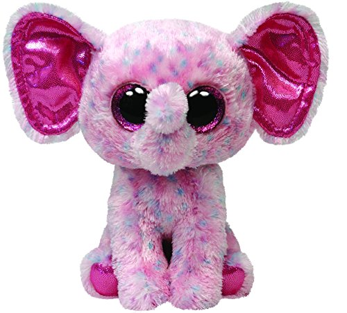 TY 34108 - Ellie Buddy - Elefant mit Glitzeraugen, groß, 24 cm, gepunktet, pink