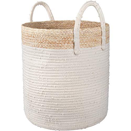 La Jolíe Muse Aufbewahrungskorb geflochten Wäschekorb aus Baumwoll-Seil und Getreideschalen, Korb für Kinderzimmer Wohnzimmer Badzimmer, H40cmXD36cm