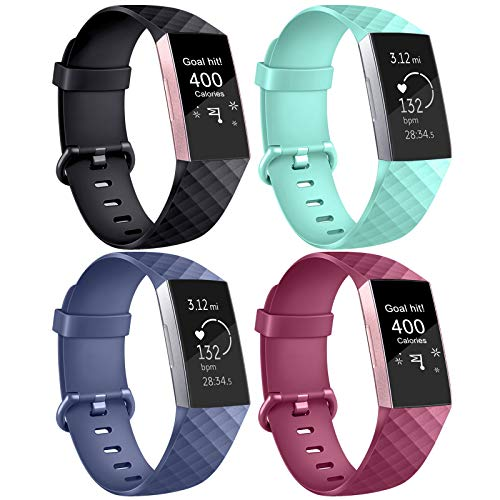 AK Kompatible Für Fitbit Charge 3 Armband/Fitbit Charge 4 Armband, Klassisch Sport Verstellbares Ersatzband für Fitbit Charge 3 und Fitbit Charge 4 (4-Pack Black+Wine red+Blue+Mint Green, S)