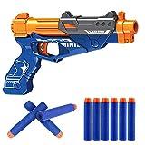 Popsugar Spongy Storm Manual Soft Dart Gun with Suction Cup Darts, Blue, 5 pcs Soft Darts/ 5pcs Suction Cup Darts